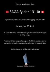 SAGA Invitation 131 års Fødselsdag